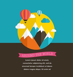 Air balloon sun and mountain backgrounds vector
