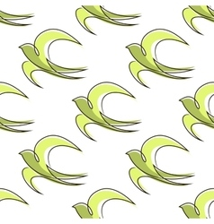 Seamless pattern of outline abstract swallow birds vector