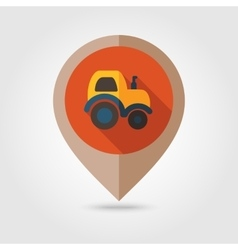 Tractor flat mapping pin icon vector
