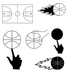 Set of sports image for basketball vector