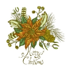 Christmas vintage floral greeting card vector