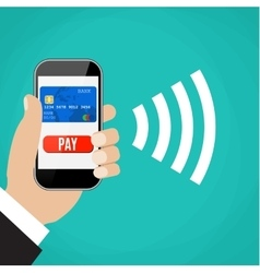 Mobile payments man holding phone vector