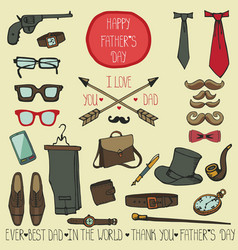Fathers day male elements sethand drawing doodles vector