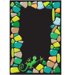 Colored stones and lizard vector