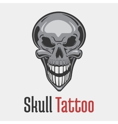 Wide smiling skeleton skull tattoo vector