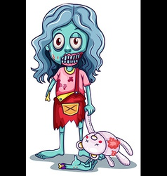 A young female zombie with a doll vector
