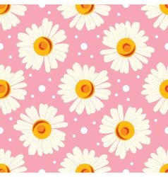 Abstract seamless chamomile pattern on pink vector image vector image