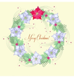 Background with Christmas wreath and poinsettia vector image