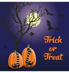blue background Halloween style pumpkin vector image vector image