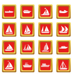 Boat and ship icons set red vector