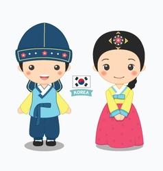 Boy and girl in korean costume vector