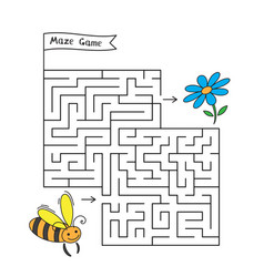 Cartoon bee maze game vector