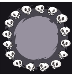 Cartoon Skulls Round Frame vector image