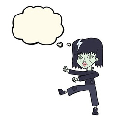 Cartoon zombie girl with thought bubble vector