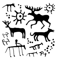 Cave art set vector image