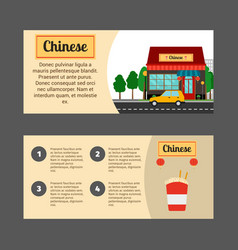 Chinese house horizontal flyers vector