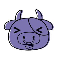 Color cheerful cow head wild animal vector