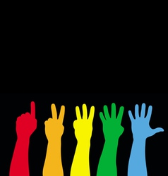 color hands counting vector image vector image