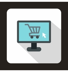 Computer monitor with shopping cart icon vector image