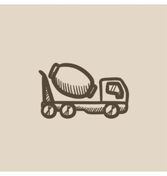 Concrete mixer truck sketch icon vector