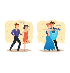 Couples dance passionate tango sensual waltz vector