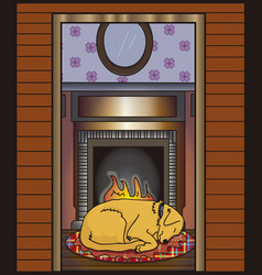 Cute dog sleeping by the fire vector