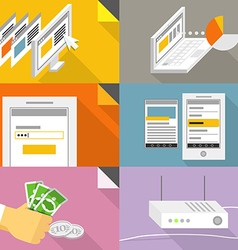 Digital communication online shopping with modern vector