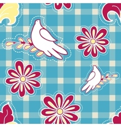 Floral background with hand drawn folk flowers and vector