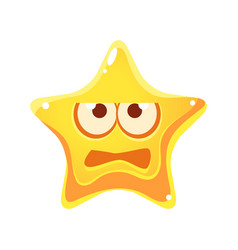 frightened face of yellow star cartoon character vector image