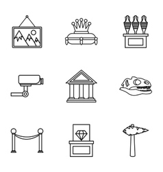 Gallery in museum icons set outline style vector