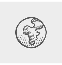 Globe sketch icon vector image vector image