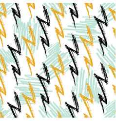 Grunge seamless pattern with lightning hand drawn vector