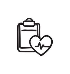 Heartbeat record sketch icon vector
