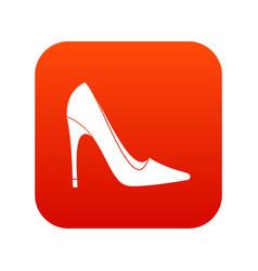 high heel shoe icon digital red vector image vector image