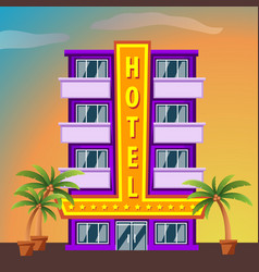 hotel on sunset landscape modern hotel building vector image