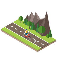 Isometric countryside summer road man cycling on vector
