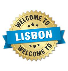 Lisbon 3d gold badge with blue ribbon vector