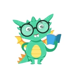 Little anime style smart bookworm baby dragon vector