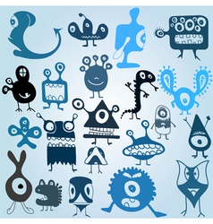 many cute doodle monsters vector image vector image