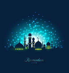 Mosque silhouette in night sky and light for vector