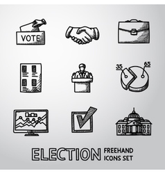 Set of handdrawn election icons with - vote box vector