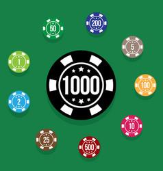 Set poker chips on poker table green color vector