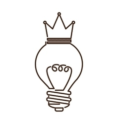 Silhouette light bulb flat icon with top crown vector