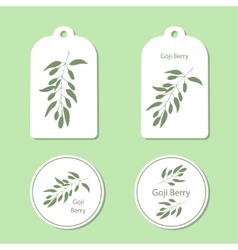 Silhouette of goji berries with leaves vector