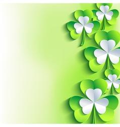 St Patricks day card green 3d leaf clover vector image