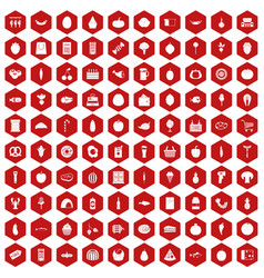100 grocery shopping icons hexagon red vector