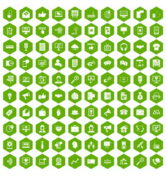 100 help desk icons hexagon green vector