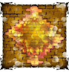 stone brick wall frame and flash diamond vector image