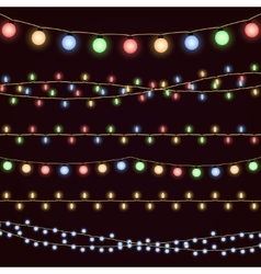 Festive christmas garland lights fairy xmas vector image