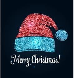 Hat of Santa Claus Glitter design vector image